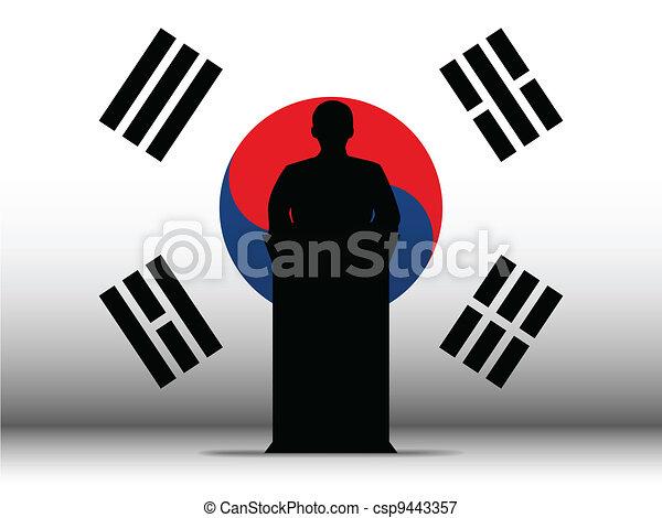 South Korea Speech Tribune Silhouette with Flag Background - csp9443357