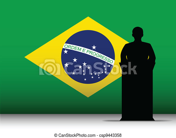 Brazilian Speech Tribune Silhouette with Flag Background - csp9443358