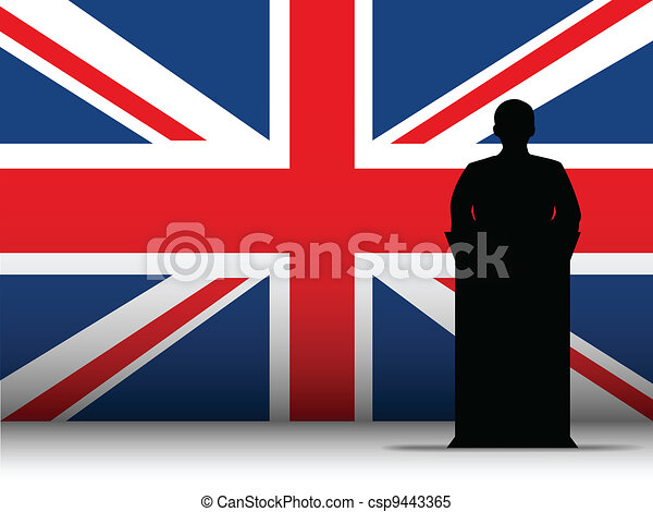 United Kingdom Speech Tribune Silhouette with Flag Background - csp9443365