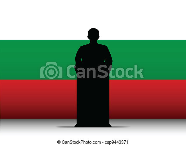 Bulgaria Speech Tribune Silhouette with Flag Background - csp9443371