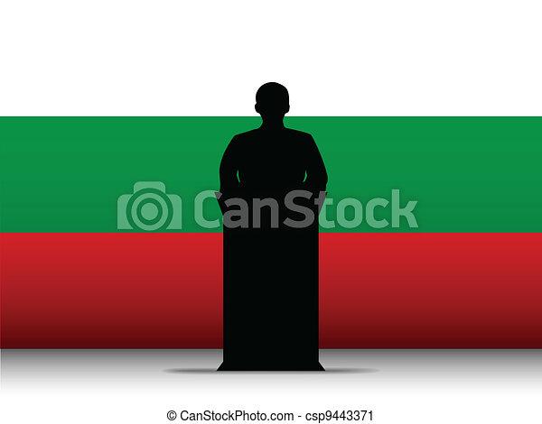 Bulgaria Speech Tribune Silhouette with Flag Background - csp9443371
