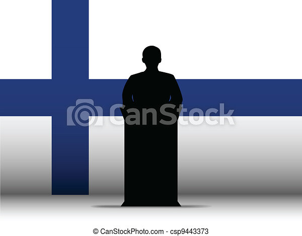 Finland Speech Tribune Silhouette with Flag Background - csp9443373