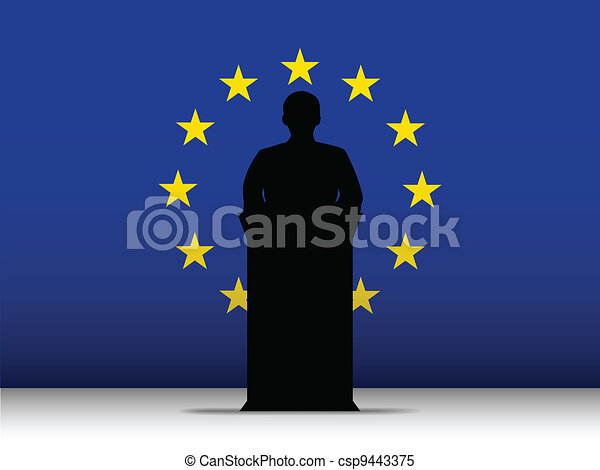 Europe Speech Tribune Silhouette with Flag Background - csp9443375