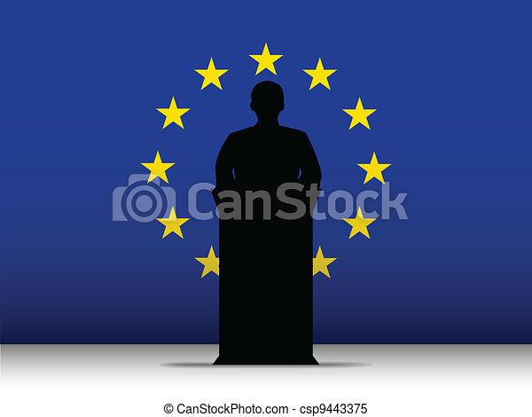 Europe Speech Tribune Silhouette with Flag Background - csp9443375