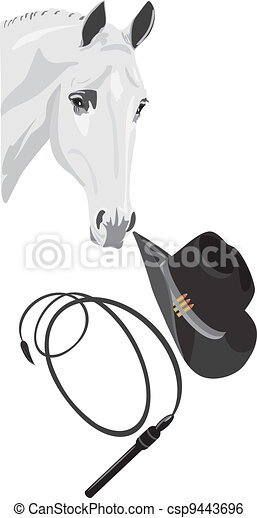 Cowboy hat, whip and horse head - csp9443696