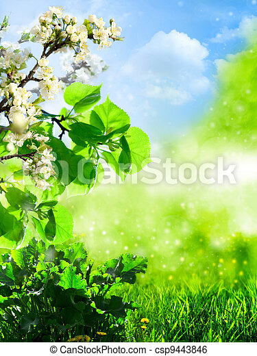Abstract summer backgrounds with green grass and apple tree - csp9443846