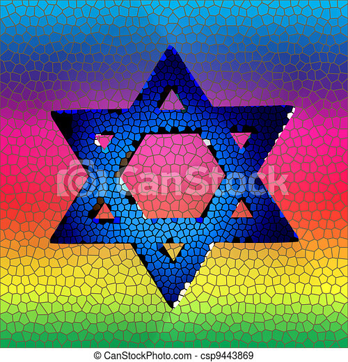 Star of David in stained glass - csp9443869