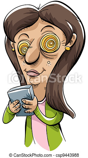 Stock Illustration of Texting Crazy - A cartoon woman is ...