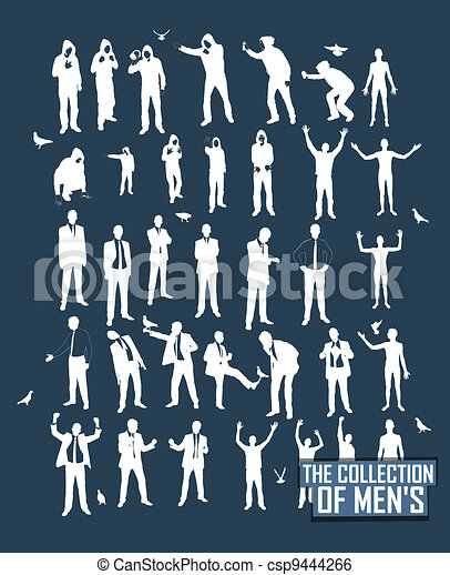 Young men silhouettes. A resident of the street, naked, businessman, supporter, graffiti. - csp9444266