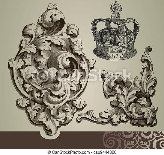 Baroque ornaments - csp9444320