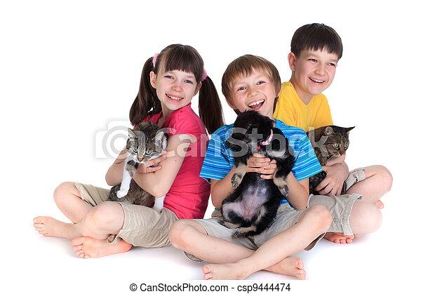 Children with pets - csp9444474