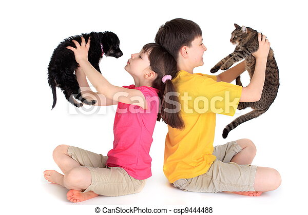 Children with family pets. - csp9444488