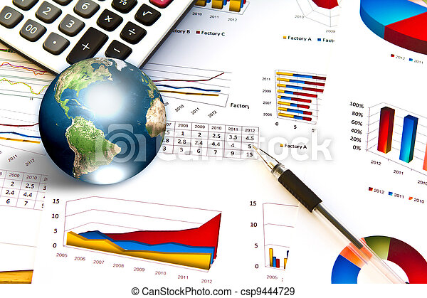 Pen and business graph with earth (Elements of this image furnished by NASA) - csp9444729