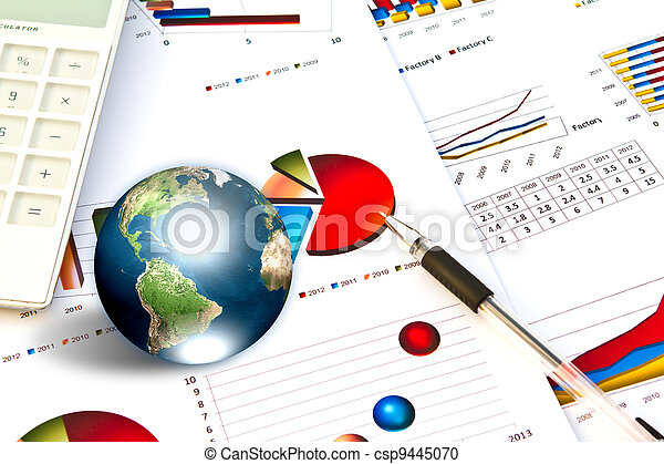 Pen and business graph with earth (Elements of this image furnished by NASA) - csp9445070