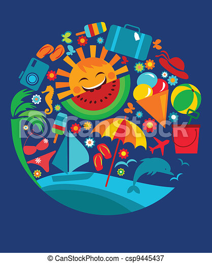 template of summer icons on blue - csp9445437