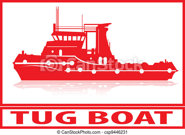 Vector Clip Art of Tug boat. - Tug boat in red silhouette. csp9446231 - Search Clipart ...