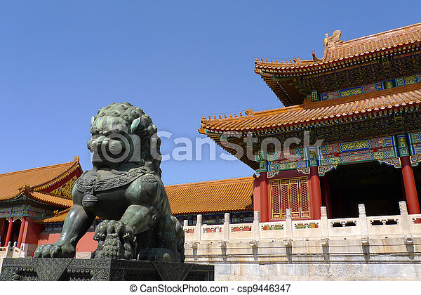 A ming dynasty imperial guardian lion (Shishi, or stone lion) in front of the gate of Supreme Harmony in the Forbidden City, Beijing, China. - csp9446347