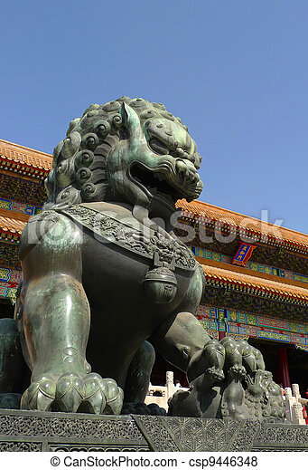 An imperial guardian lion the Forbidden City in Beijing - csp9446348