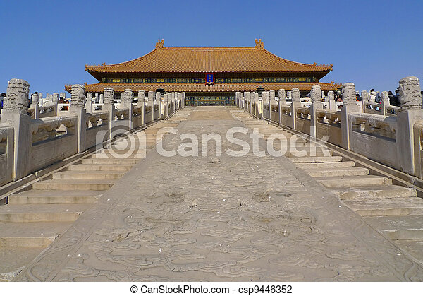 The middle staircase to the Hall of Supreme Harmony in the Forbidden City, Beijing, China. The stairway has a huge stone engraving with dragons playing with pearls. - csp9446352