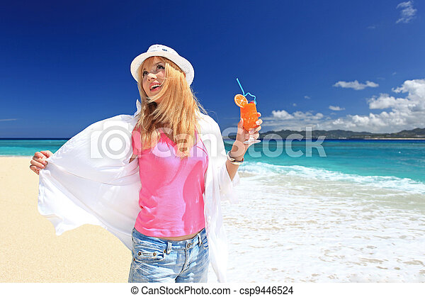 Beach, tropical, Okinawa, woman - csp9446524