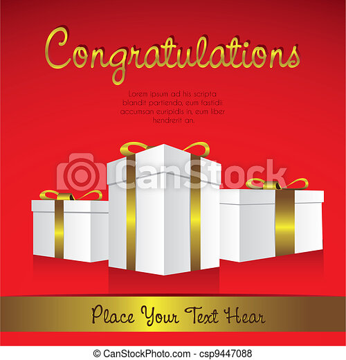 white gift boxes with golden ribbons - csp9447088