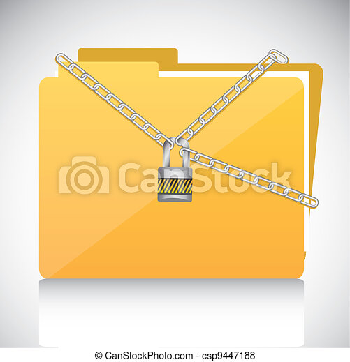 chains with a padlock on file folder - csp9447188