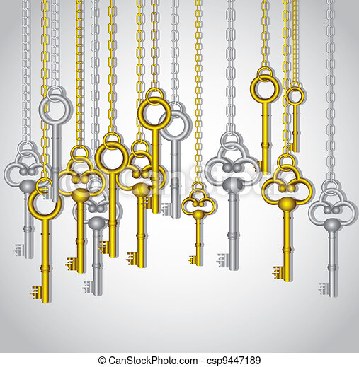 old keys hanging - csp9447189