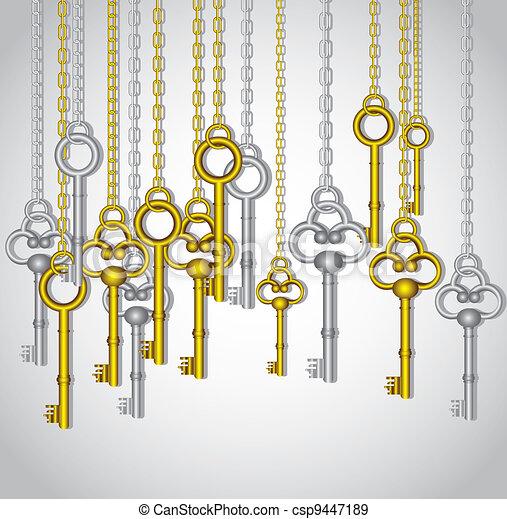 old keys hanging   - csp9447189