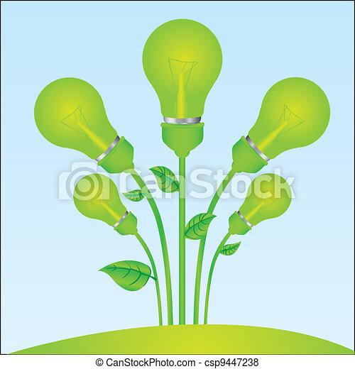 planting of green bulb  - csp9447238