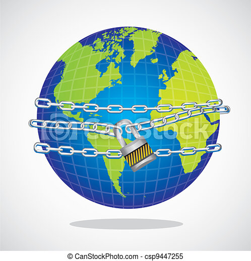 conceptual world with chain and padlock - csp9447255