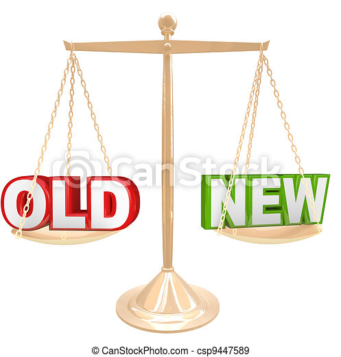 Old Vs New Words on Balance Scale Weighing Comparison - csp9447589