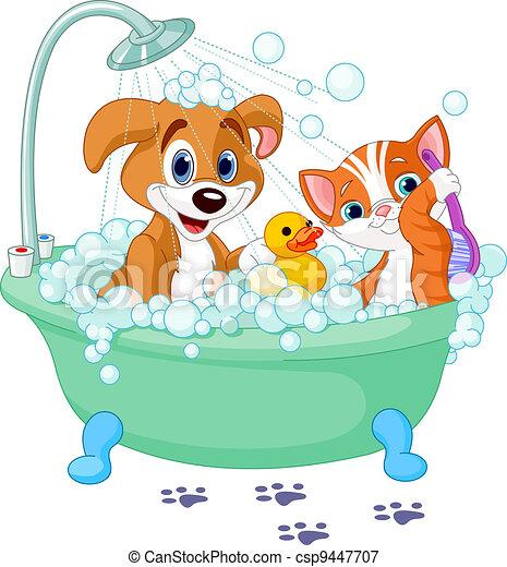 Dog and Cat  having a bath  - csp9447707