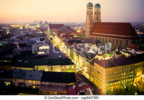 Church of our Dear Lady in Munich at dusk - csp9447881