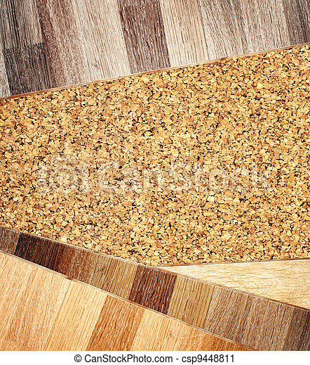 Oak parquet and cork flooring texture - csp9448811