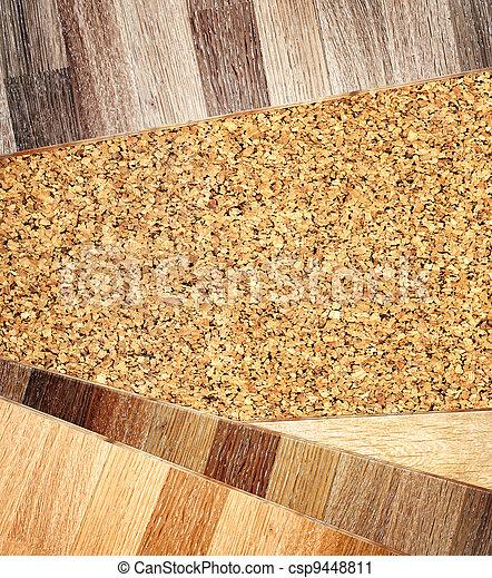 Oak parquet and cork flooring texture - csp9448811