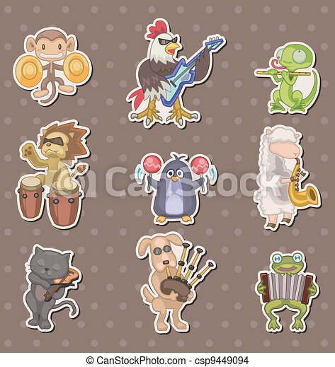 animal play music stickers - csp9449094