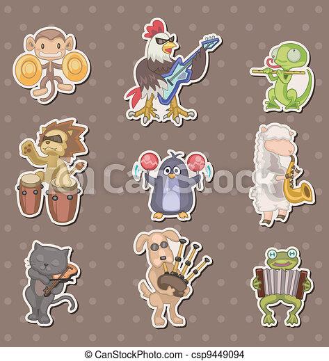 animal play music stickers - csp9449094