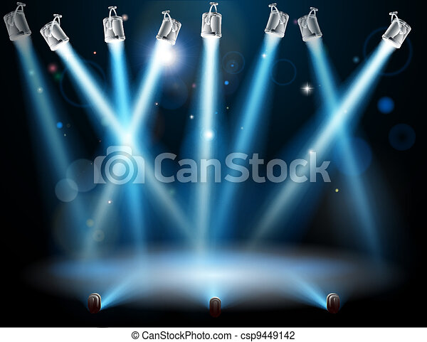 Blue spotlights background - csp9449142