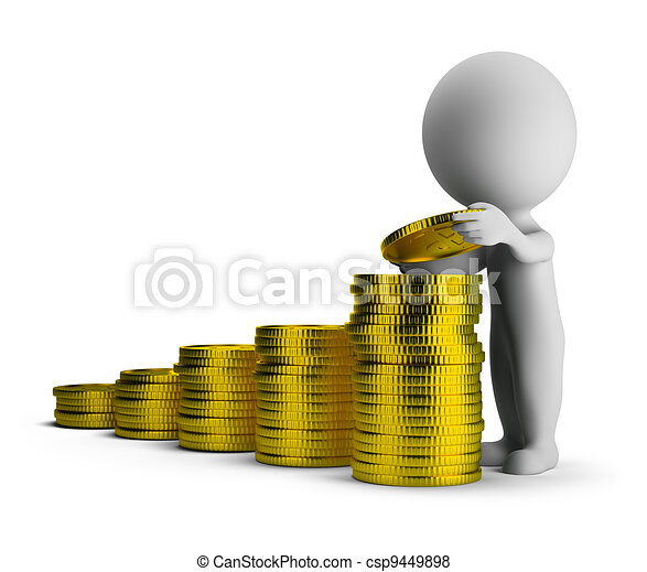 3d small people - financial success - csp9449898