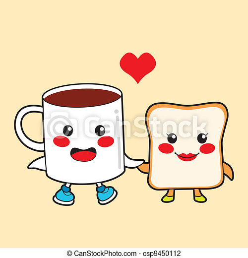 Vector Illustration Of Chocolate And Toast Funny Cartoon Character Couple Csp9450112