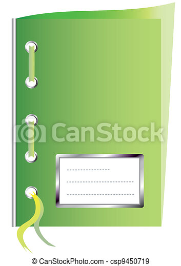 Green paper workbook with space for text - csp9450719