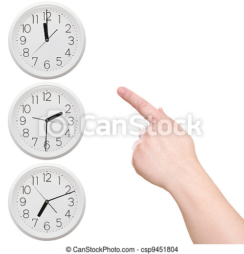 Three clock. Finger points to the clock - csp9451804
