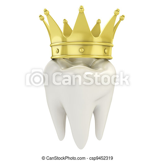 single tooth with golden crown - csp9452319