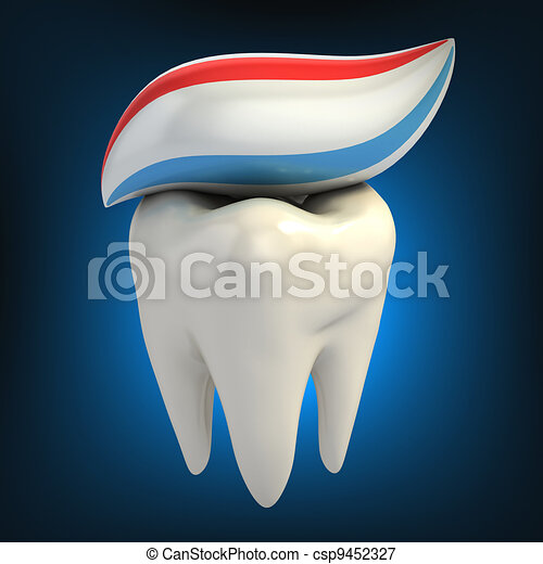 dental care - toothpaste on tooth - csp9452327