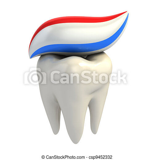 dental care - toothpaste on tooth - csp9452332