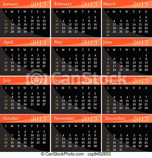 calendar for 2013 year vector illustration - csp9452653