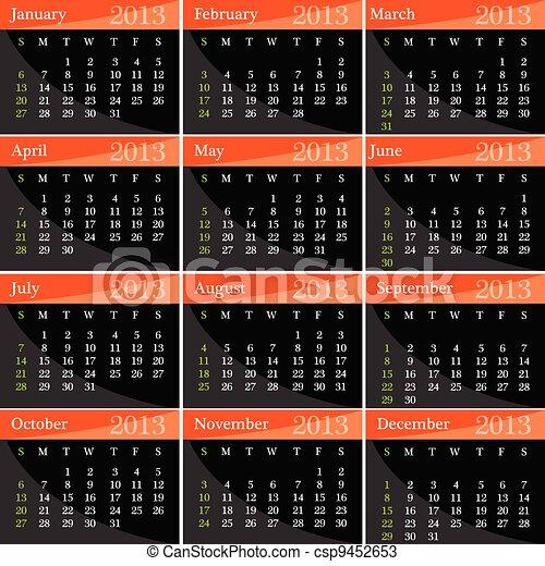 calendar for 2013 year vector illustration - csp9452653