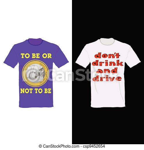t-shirt in two color with one euro and message for drink - csp9452654