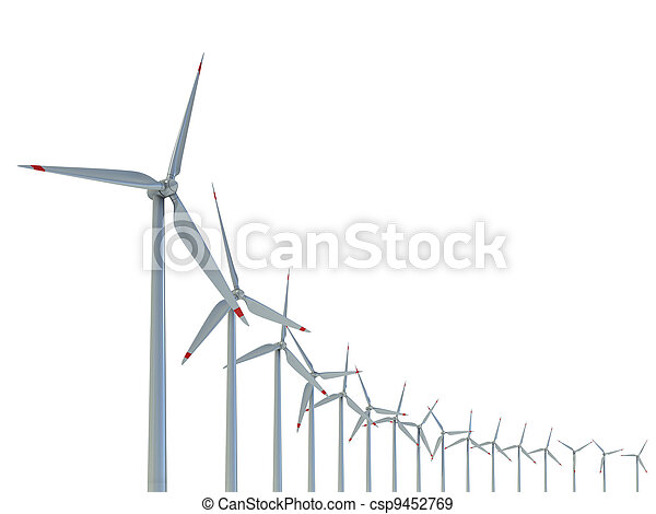 Wind power farm against white - csp9452769