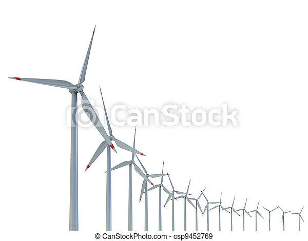 Wind power farm against white  - csp9452769